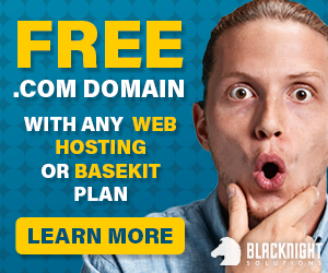 FREE .COM Domain with any web hosting or basekit plan